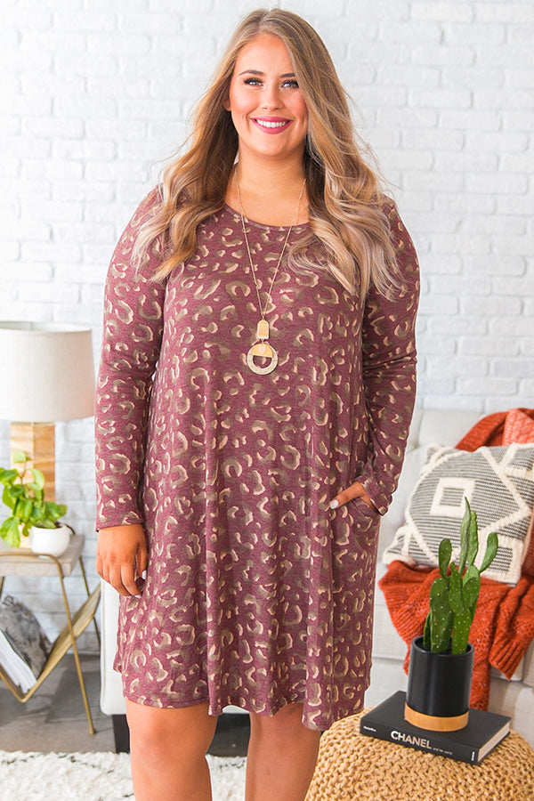 Cozy In Leopard Shift Dress in Windsor Wine
