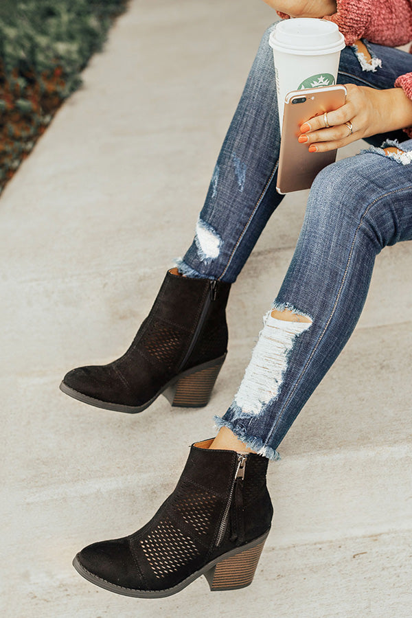 The Noelle Faux Suede Bootie in Black