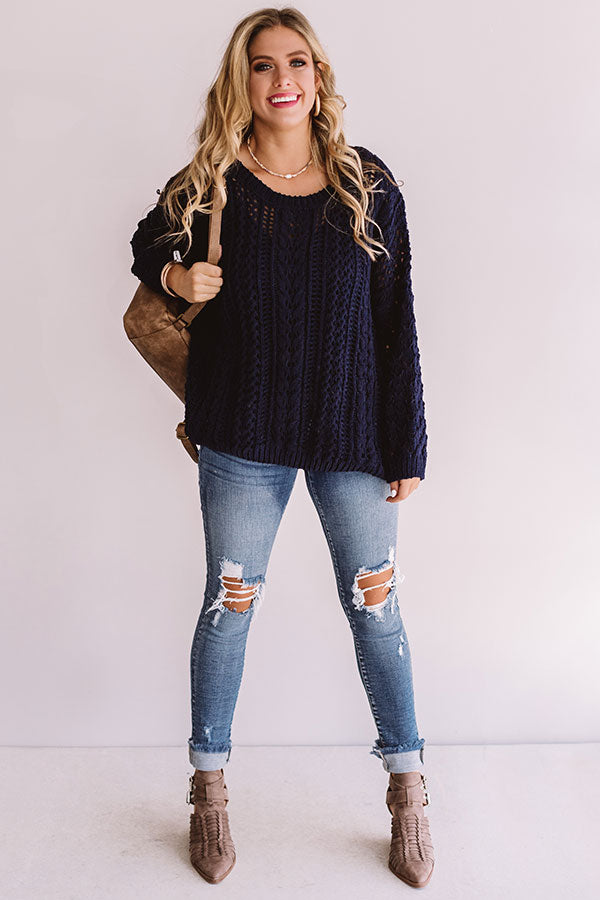 Season Of Snuggles Tunic Sweater in Navy
