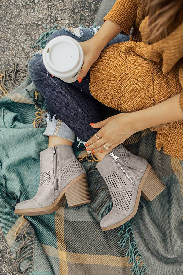 The Noelle Faux Suede Bootie in Grey