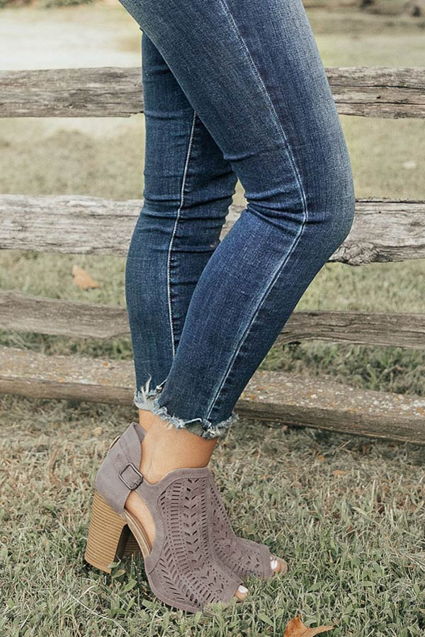 The Farrah Peep Toe Bootie in Light Slate