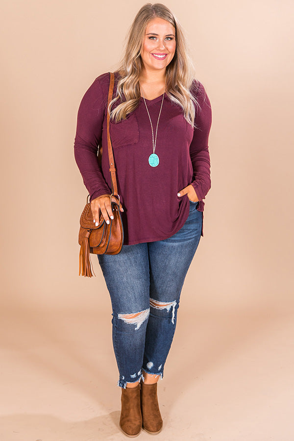 Slopes And Kisses Mineral Wash Shift Tee In Windsor Wine