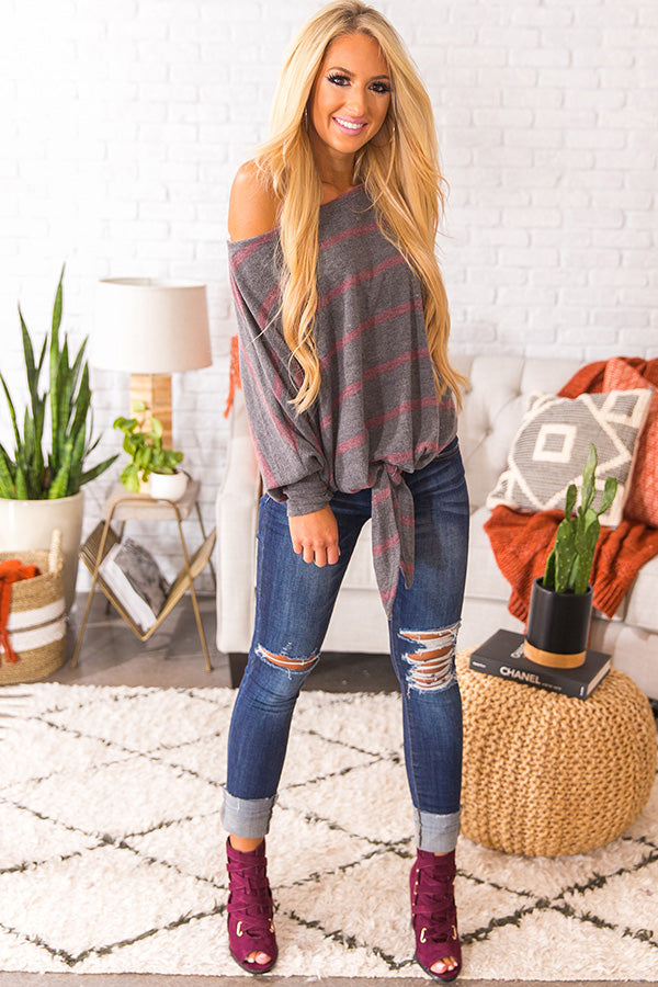 Forever Cozy Stripe Top In Sangria