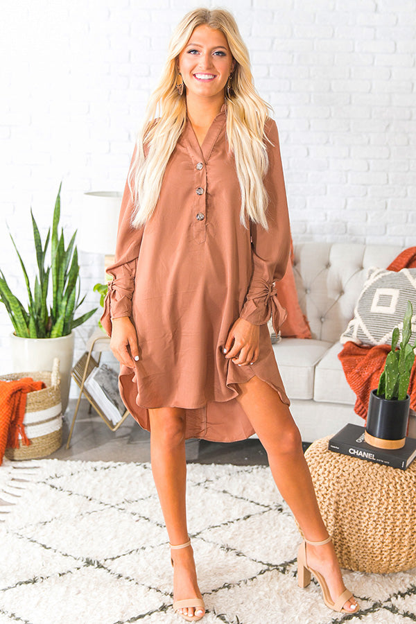 Fall Fancy Shift Dress in Camel