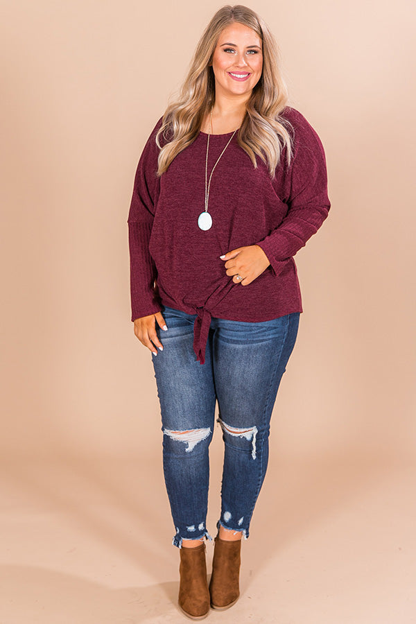 Meet Me At The Orchard Tie Top In Merlot