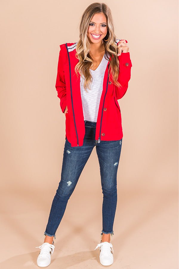 Meet Me By The Bay Lightweight Jacket in Red