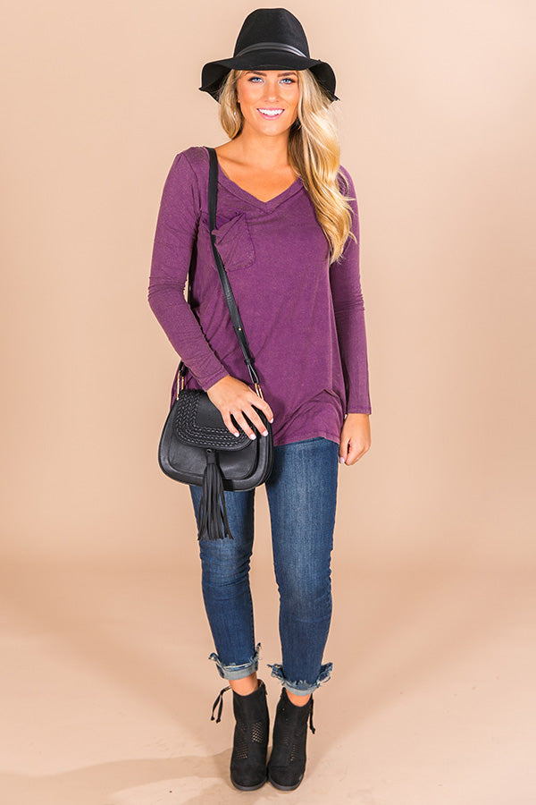 Slopes And Kisses Mineral Wash Shift Tee In Purple