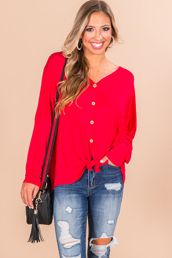 Positively Pretty Shift Top In Red