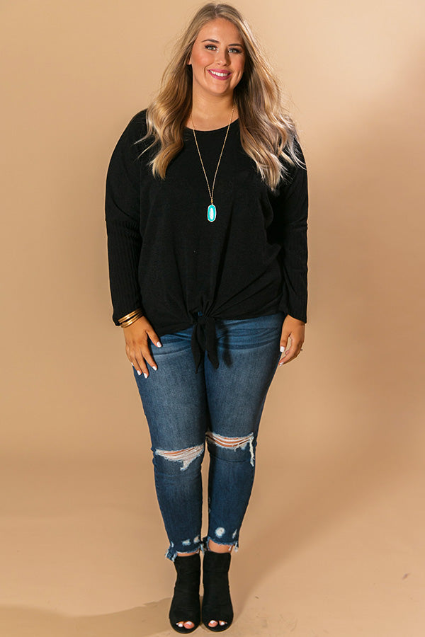 Meet Me At The Orchard Tie Top In Black
