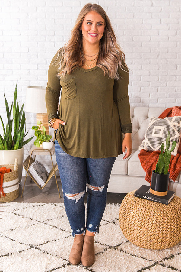 Slopes And Kisses Mineral Wash Shift Tee In Olive