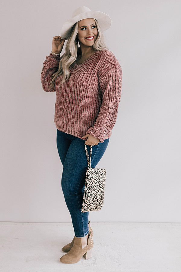 Coffee Cuddles Chenille Sweater In Blush