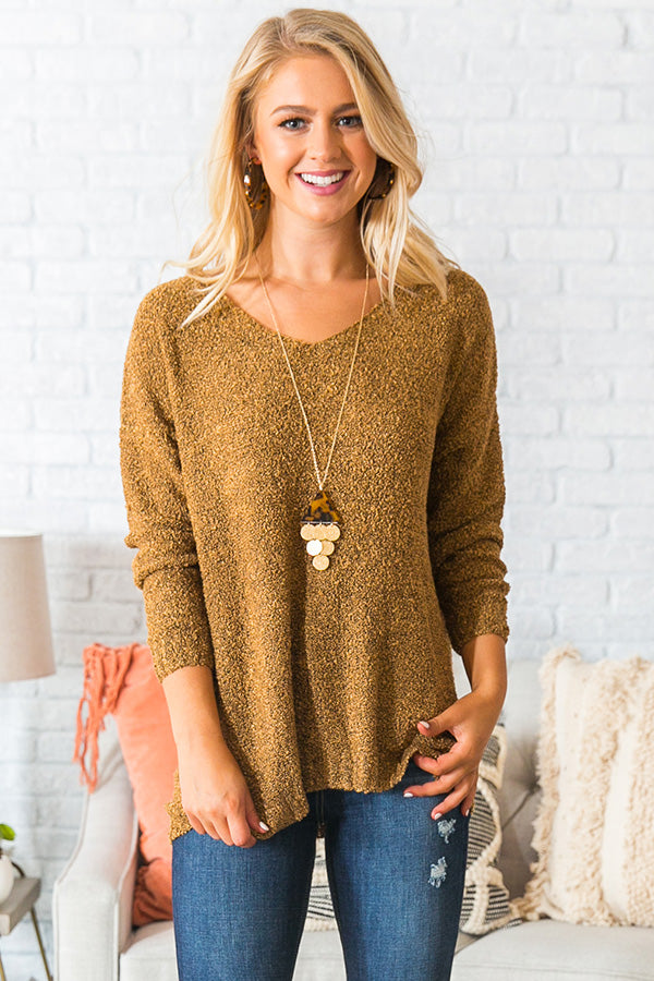 Rocky Mountain Retreat Shift Sweater In Mustard