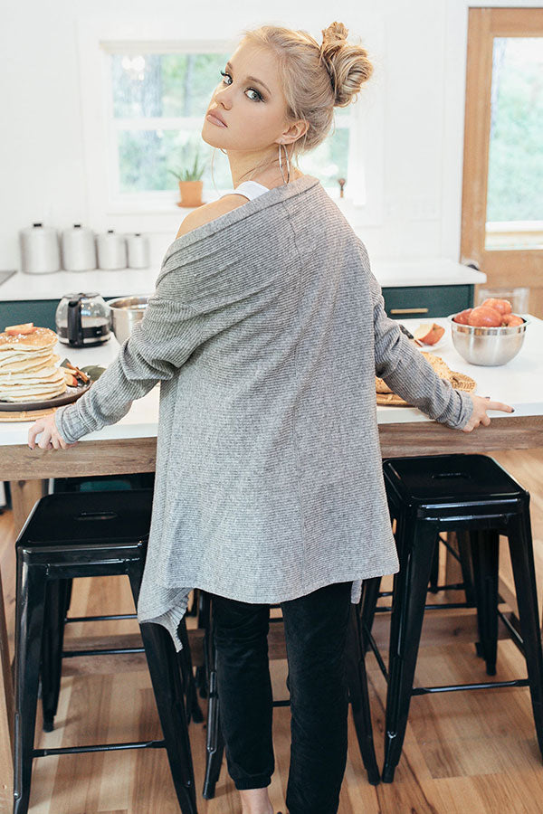 Cider And Chill Cardigan In Grey