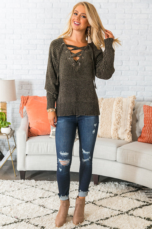 Fireside Champagne Lace Up Chenille Sweater in Army Green