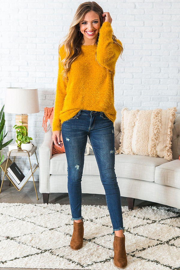 Cocoa In Charleston Fuzzy Sweater In Mustard