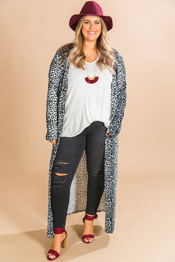 Park City Pretty Leopard Cardigan in Slate