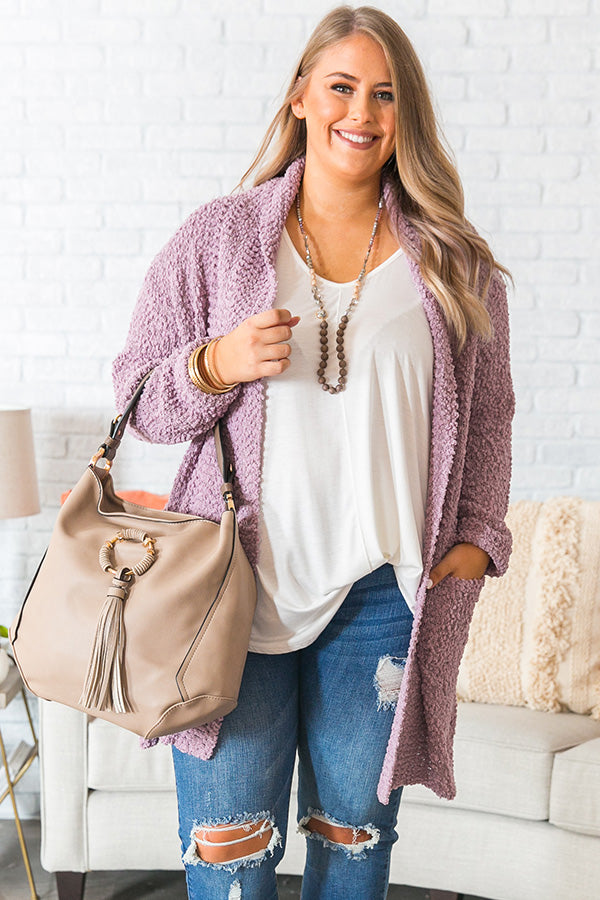 Let's Stay Home Knit Cardigan in Lavender