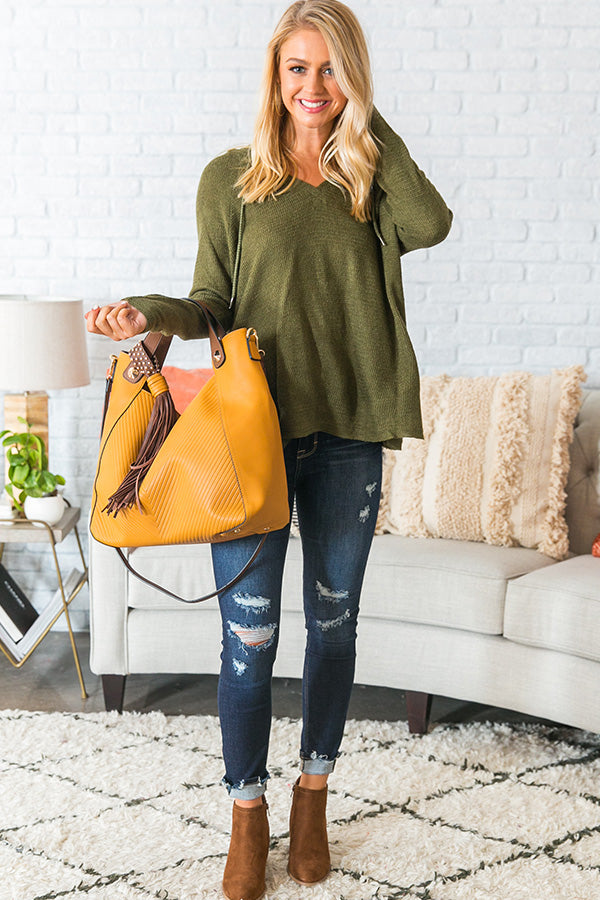 Retreat To The Cabin Shift Sweater in Olive