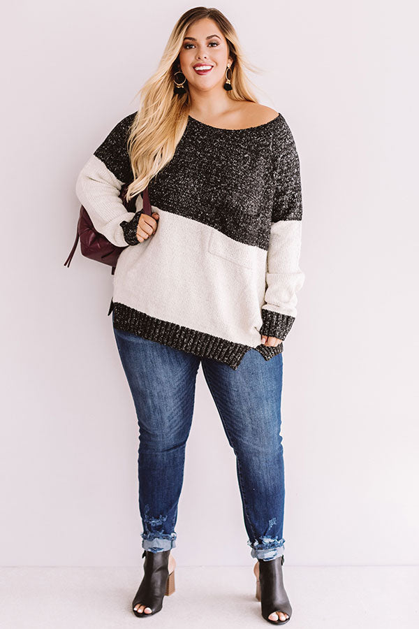 Moonlight Magic Color Block Sweater in Charcoal
