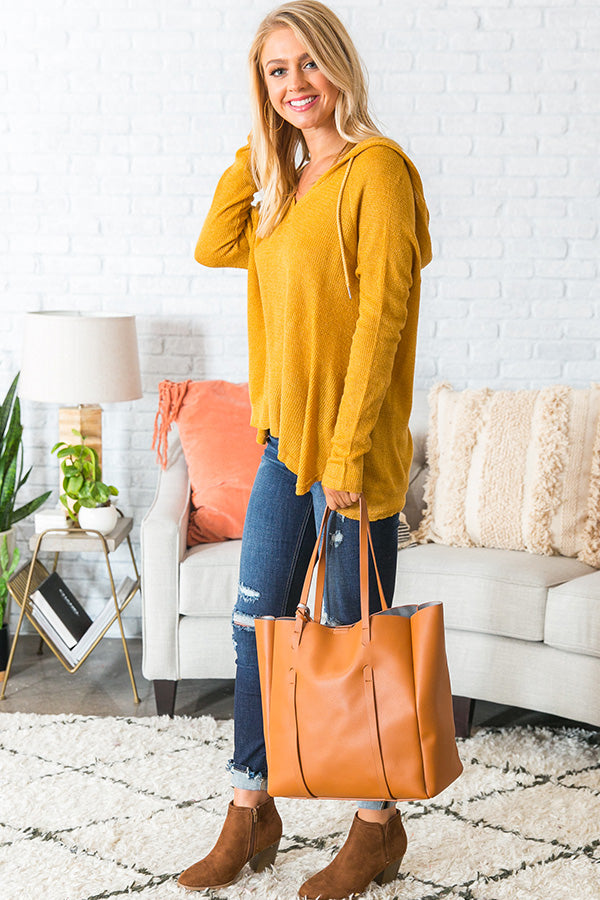 Retreat To The Cabin Shift Sweater in Honey