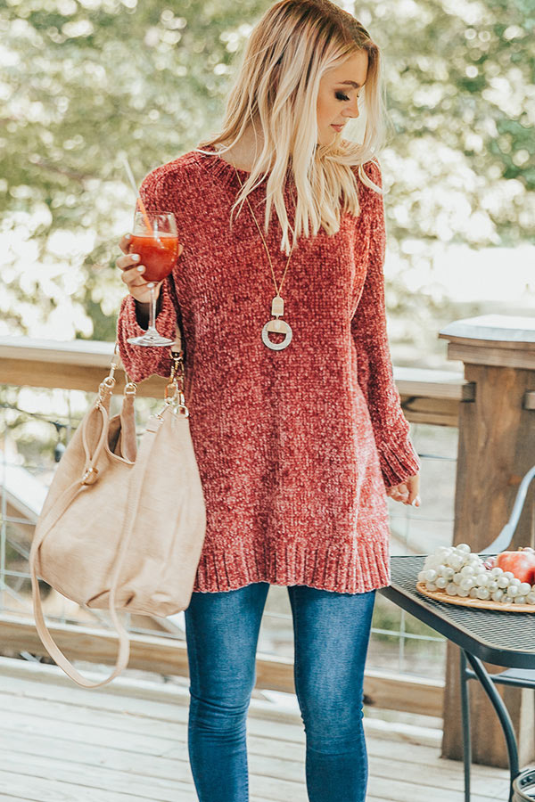 Madison Avenue Chenille Sweater In Rustic Rose