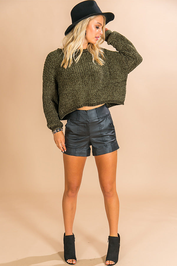 Denver Date Night Cropped Chenille Sweater in Olive