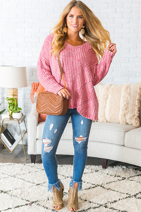 Cabin Getaway Chenille Sweater in Pink