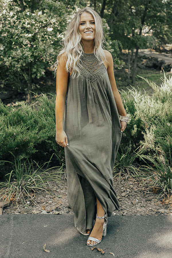 Vineyard Views Crochet Maxi In Olive