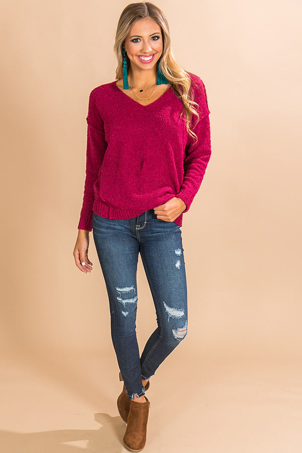 Cappuccino Calling Shift Sweater in Sangria