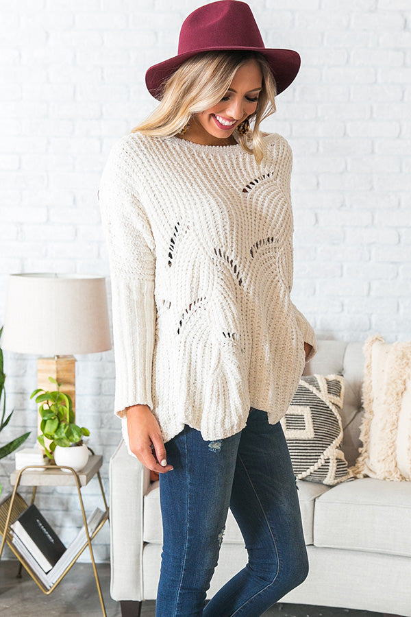 Cabin Getaway Chenille Sweater in Ivory