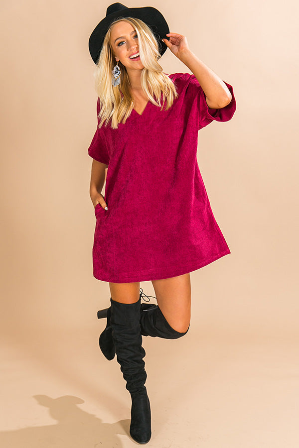 Take A Chance Corduroy Shift Dress in Wine
