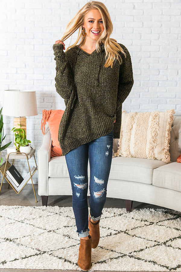 S'more Fall Please Chenille Sweater In Olive