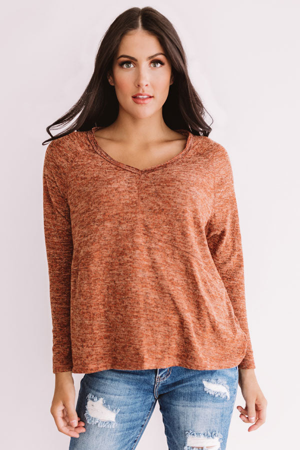 Hot Cocoa On The Hayride Shift Top In Rust