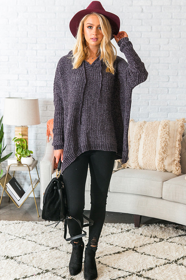 S'more Fall Please Chenille Sweater In Charcoal
