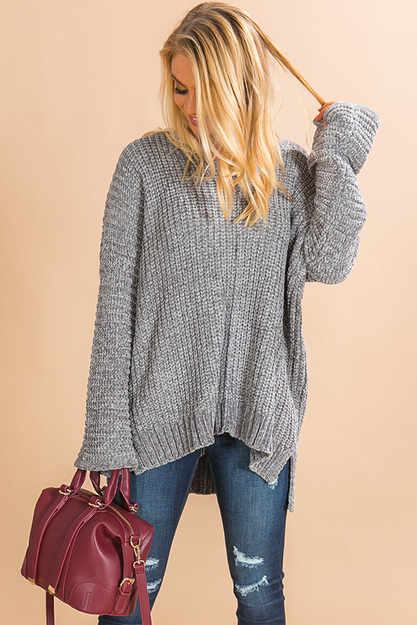 Let's Get Toasty Chenille Sweater In Grey