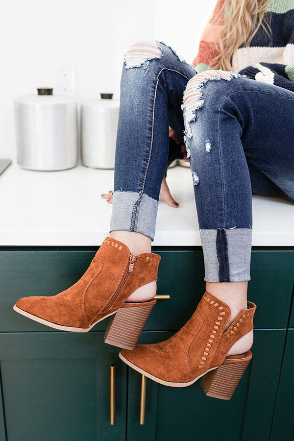 The McKinley Faux Suede Bootie in Maple