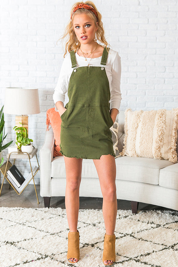 Class Act Overall Dress in Olive