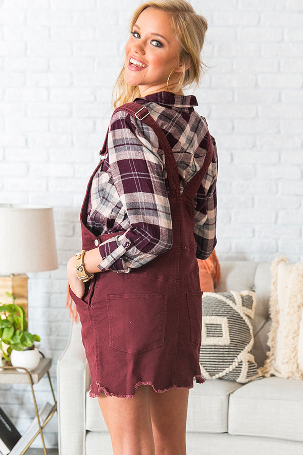 Class Act Overall Dress in Merlot