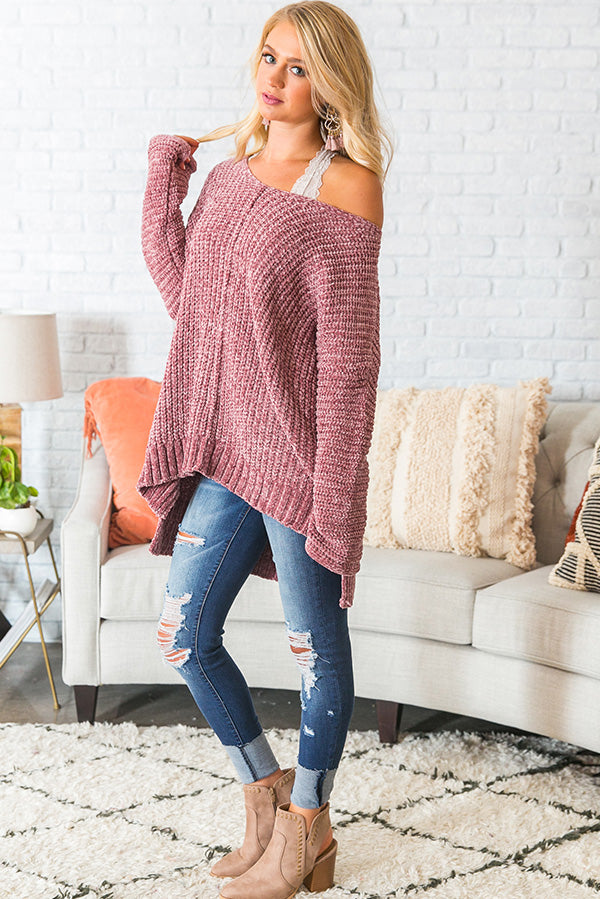 Let's Get Toasty Chenille Sweater In Rustic Rose