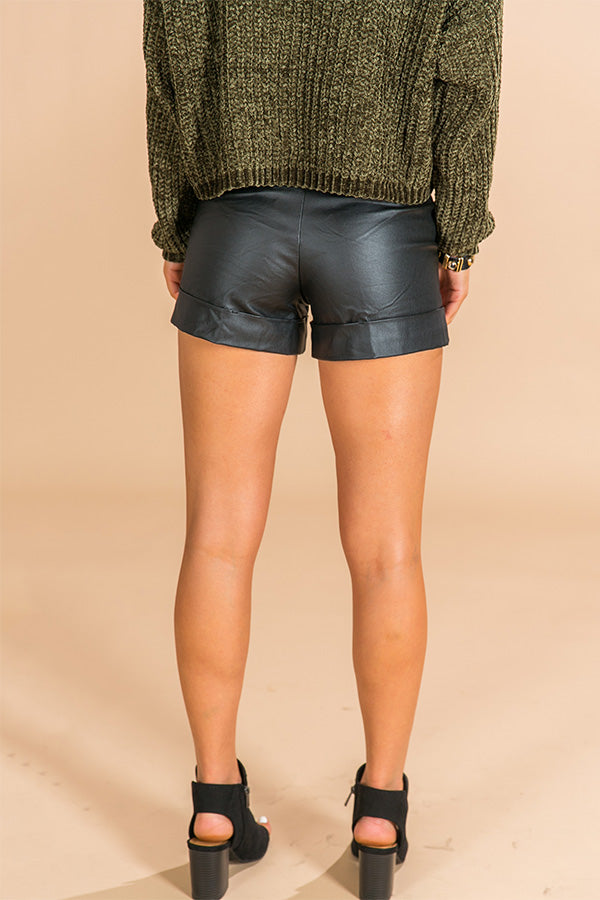 Funday Fabulous Faux Leather High Waist Shorts