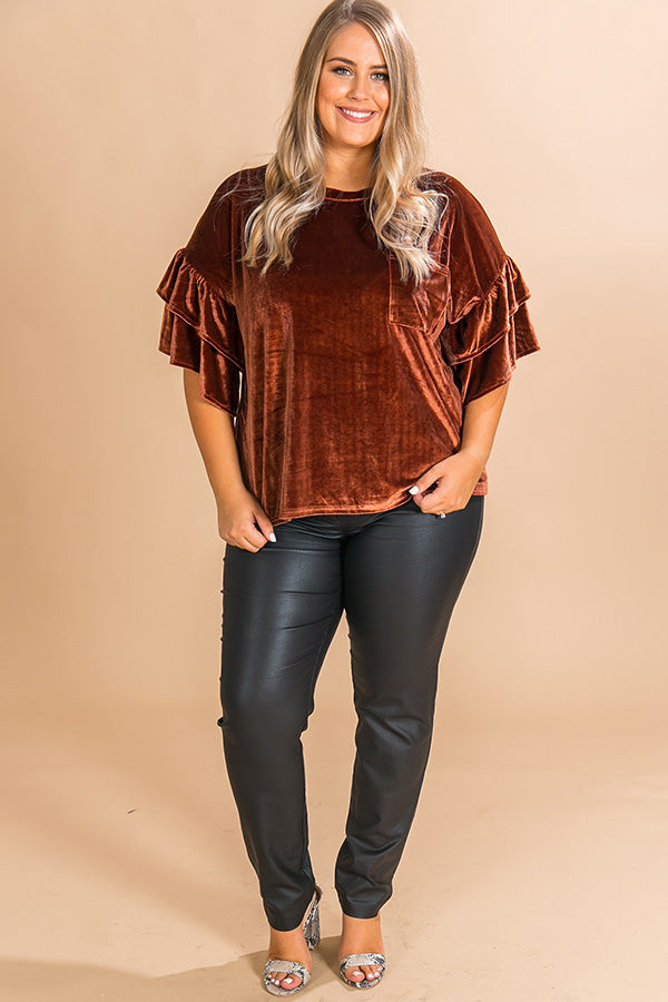 Paparazzi Please Velvet Top In Cinnamon