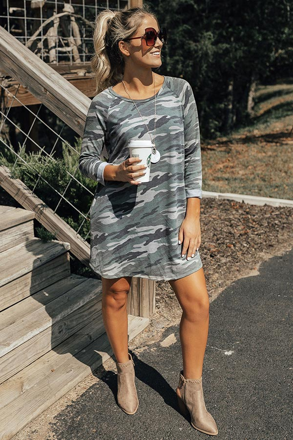 Wine And Chill Camo T-Shirt Dress