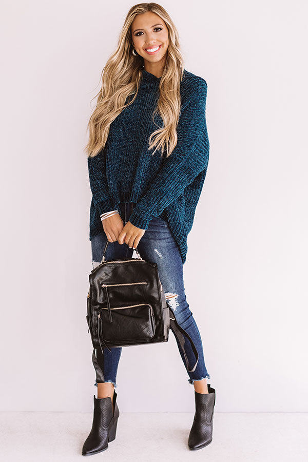 S'more Fall Please Chenille Sweater In Cobalt