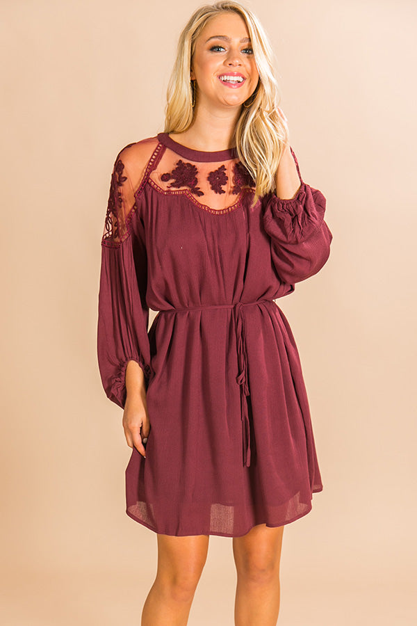 All Day Chic Lace Shift Dress In Merlot