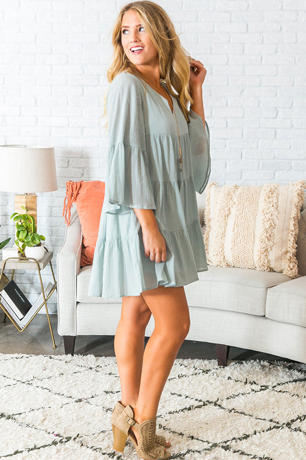 Sunrise Sippin' Babydoll Dress in Aqua