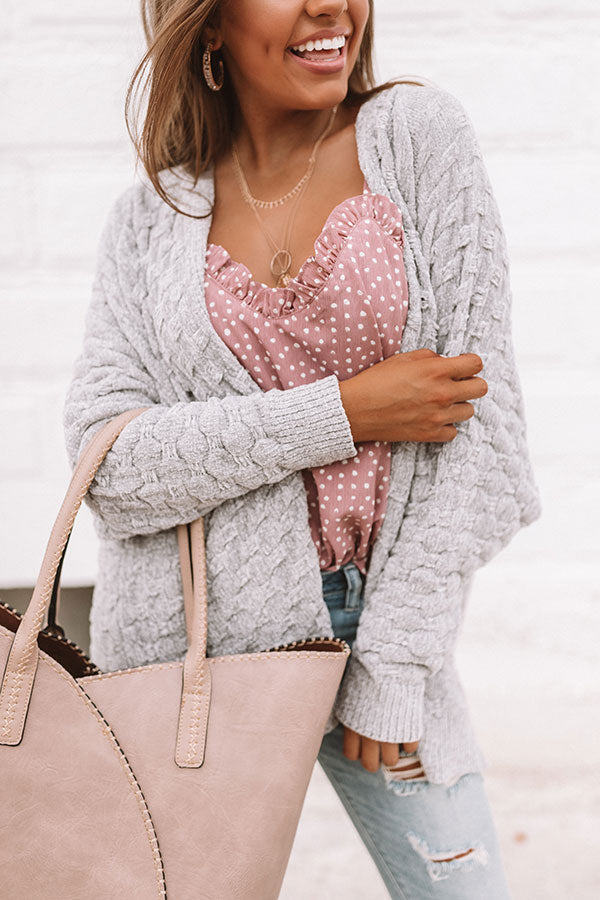 Wine Night Sippin' Chenille Cardigan In Grey