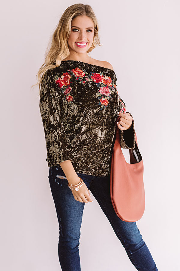 Sonoma At Sunset Embroidered Velvet Top