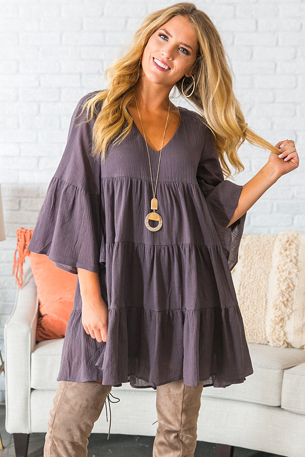 Sunrise Sippin' Babydoll Dress in Charcoal