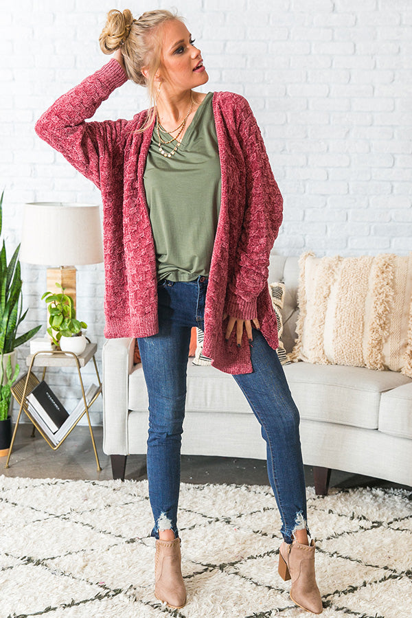 Wine Night Sippin' Chenille Cardigan In Rustic Rose