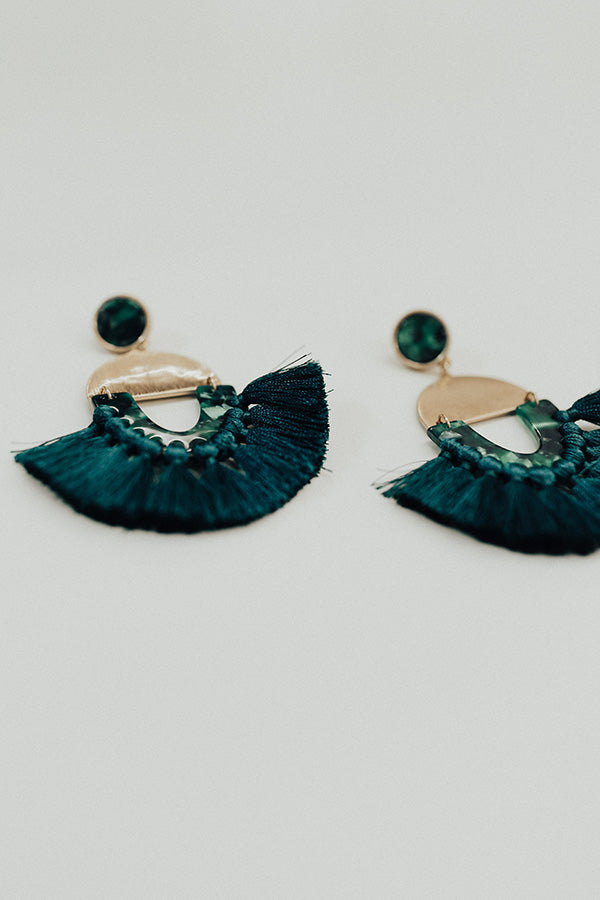 Prosecco On My Mind Earrings In Teal
